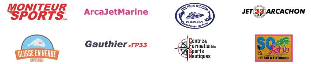 Logos de Moniteur sports, arcajetmarine, Dolphin jet, jet 33 arcachon, glisse en herbe, gauthier sp33, centre de formation des sports nautiques, so jet 13