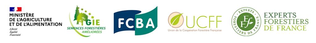Logos du ministère de l'agriculture et de l'alimentation, semences forestières améliorées, FCBA, UCFF et des experts forestiers de France