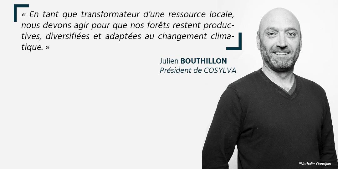 Ceci est une photo de Julien BOUTHILLON président de COSYLVA lors d'une interview pour Plantons pour l'avenir. La photo a été prise par Nathalie Oundijan
